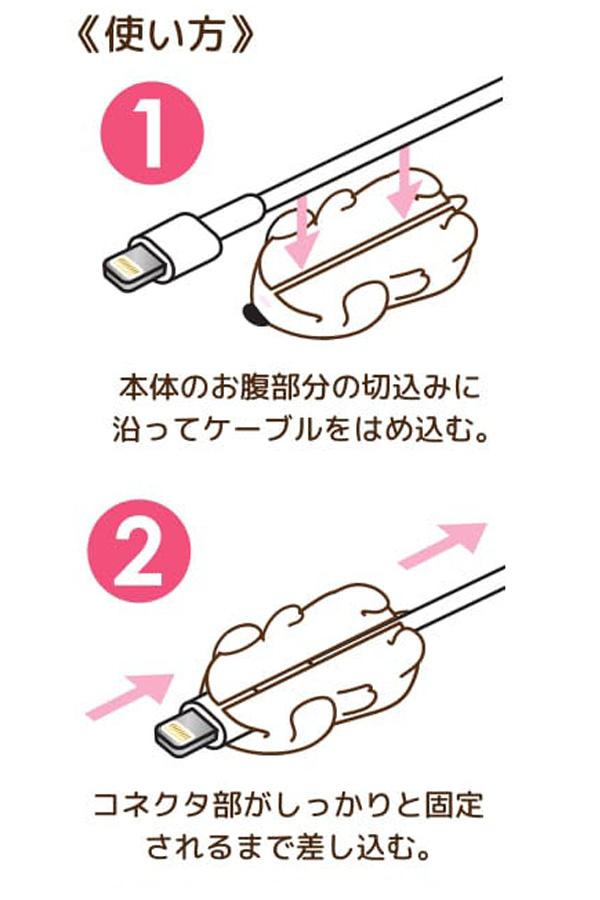 使い方。1、本体のお腹部分の切込みに沿ってケーブルをはめ込む。2、コネクタ部がしっかりと固定されるまで差し込む。